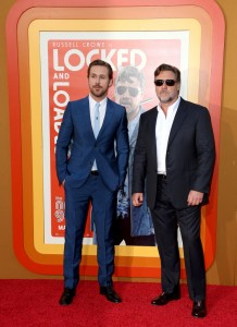 Ryan Gosling and Russell Crowe at The Nice Guys premiere held at TCL Chinese Theatre, Hollywood Blvd, Los Angeles, CA on Tuesday 10th May 2016