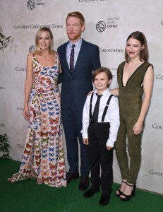 Margot Robbie, Domhnall Gleeson, Will Tilston and Kelly Macdonald Goodbye Christopher Robin New York City Special Screening