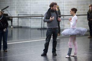 Darren Aronofsky and Natalie Portman on set of Black Swan