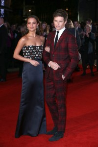 Alicia Vikander and Eddie Redmayne attend the U.K. film premiere of The Danish Girl held at Odoen cinema, Leicester Square, London on December 8, 2015.