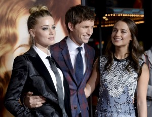 Amber Heard, Eddie Redmayne and Alicia Vikander attend the Los Angeles film premiere of The Danish Girl held at Westwood Village Theatre, Broxton Ave, CA on November 21, 2015.