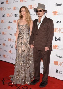 Amber Heard and husband Johnny Depp attend the Canadian film premiere of The Danish Girl during 2015 Toronto International Film Festival on September 12, 2015.