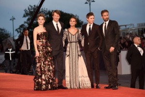 Amber Heard, Director Tom Hooper, Alicia Vikander, Eddie Redmayne and Matthias Schoenaerts attend The Danish Girl film premiere during 72nd Venice International Film Festival on September 4, 2015.