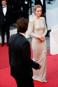 Benicio del Toro and Emily Blunt attend the French film premiere of Sicario during 68th Annual Cannes Film Festival on May 19, 2015.
