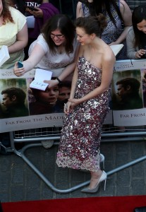 Carey Mulligan with fans at the U.K. film premiere of Far from the Madding Crowd held at Odeon, Kensington, London on April 15, 2015.
