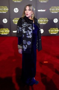 Carrie Fisher attends the World Premiere of Star Wars: The Force Awakens held at TCL Chinese Theatre, Hollywood Blvd, Los Angeles, CA on December 14, 2015.