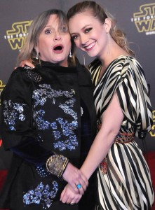 Carrie Fisher and daughter Billie Lourd at the World Premiere of Star Wars: The Force Awakens held at TCL Chinese Theatre, Hollywood Blvd, Los Angeles, CA on December 14, 2015.