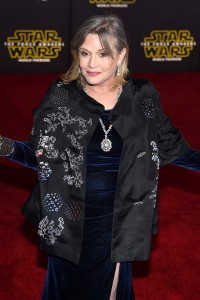 Carrie Fisher at the World Premiere of Star Wars: The Force Awakens held at TCL Chinese Theatre, Hollywood Blvd, Los Angeles, CA on December 14, 2015.