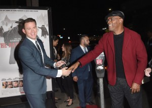 Co=stars Channing Tatum and Samuel L. Jackson attend the Los Angeles film premiere of The Hateful Eight held at ArcLight Cinemas, Sunset Blvd on December 7, 2015.