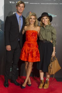 Chris Hemsworth, Elsa Pataky and Leticia Dolera attend the Madrid film premiere of In the Heart of the Sea held at Callao Cinema, Spain on December 3, 2015.