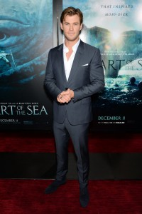 Chris Hemsworth attends the New York film premiere of In the Heart of the Sea on December 7, 2015.