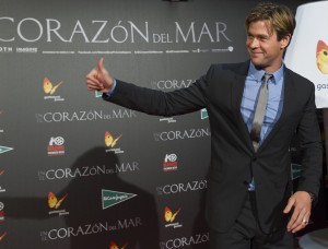 Chris Hemsworth attends the Madrid film premiere of In the Heart of the Sea held at Callao Cinema, Spain on December 3, 2015.