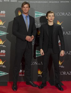 Chris Hemsworth and Tom Holland at the Madrid film premiere of In the Heart of the Sea held at Callao Cinema, Spain on December 3, 2015.