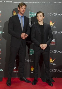 Chris Hemsworth and Tom Holland attend the Madrid film premiere of In the Heart of the Sea held at Callao Cinema, Spain on December 3, 2015.