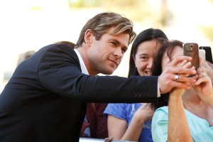Chris Hemsworth with fans at the Australian film premiere of In the Heart of the Sea held at Moore Park, Sydney on November 17, 2015.