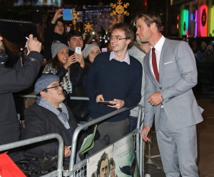 Chris Hemsworth with fans at the European premiere of In the Heart of the Sea held at Empire Cinema, Leicester Square, London on December 2, 2015.