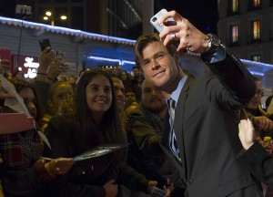 Chris Hemsworth with fans at the Madrid film premiere of In the Heart of the Sea held at Callao Cinema, Spain on December 3, 2015.
