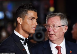 Cristiano Ronaldo and Alex Ferguson at the world film premiere of Ronaldo held at Vue West End, Leicester Square, London on November 9, 2015.
