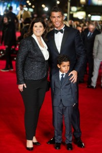 Cristiano Ronaldo with his mother and son at the world film premiere of Ronaldo held at Vue West End, Leicester Square, London on November 9, 2015.