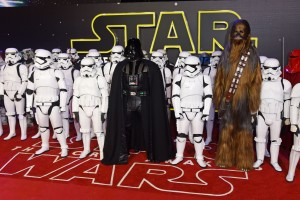 Darth Vader, Stormtroopers and Chewbacca at the UK film premiere of Star Wars: The Force Awakens held at Odeon and Empire Cinemas, Leicester Square London. (December 14, 2015)