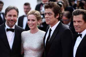 Denis Villeneuve, Emily Blunt, Benicio del Toro and Josh Brolin attend the French film premiere of Sicario during 68th Annual Cannes Film Festival on May 19, 2015.