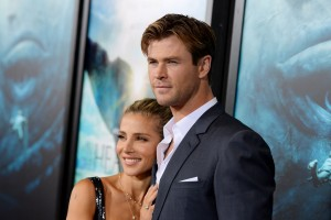 Chris Hemsworth and Elsa Pataky attend the New York film premiere of In the Heart of the Sea on December 7, 2015.