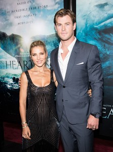Chris Hemsworth and wife Elsa Pataky attend the New York film premiere of In the Heart of the Sea on December 7, 2015.
