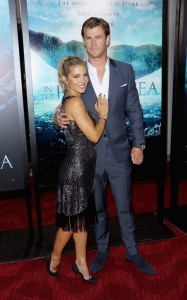 Elsa Pataky and Chris Hemsworth attend the New York film premiere of In the Heart of the Sea on December 7, 2015.