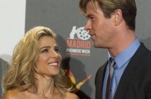 Chris Hemsworth and Elsa Pataky attend the Madrid film premiere of In the Heart of the Sea held at Callao Cinema, Spain on December 3, 2015.