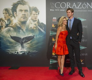 Elsa Pataky and Chris Hemsworth attend the Madrid film premiere of In the Heart of the Sea held at Callao Cinema, Spain on December 3, 2015.