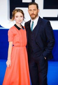 Emily Browning and Tom Hardy attend the U.K. film premiere of Legend held at Odeon cinema, Leicester Square, London on September 3, 2015.