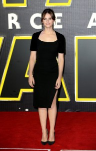 Felicity Jones attends the UK film premiere of Star Wars: The Force Awakens held at Odeon and Empire Cinemas, Leicester Square London. (December 14, 2015)