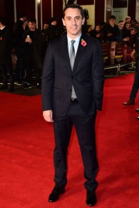 Gary Neville attends the world film premiere of Ronaldo held at Vue West End, Leicester Square, London on November 9, 2015.