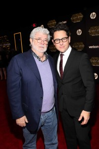 George Lucas and J.J. Abrams attend the World Premiere of Star Wars: The Force Awakens held at TCL Chinese Theatre, Hollywood Blvd, Los Angeles, CA on December 14, 2015.