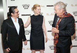 Hiroyuki Sanada, Laura Linney and Ian McKellen attend the New York film premiere of Mr. Holmes held at the Museum of Modern Art, NYC on July 13, 2015.