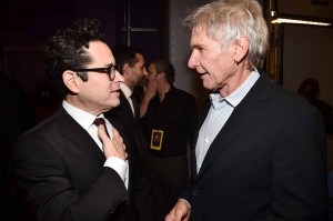 J.J. Abrams and Harrison Ford at the World Premiere of Star Wars: The Force Awakens held at TCL Chinese Theatre, Hollywood Blvd, Los Angeles, CA on December 14, 2015.