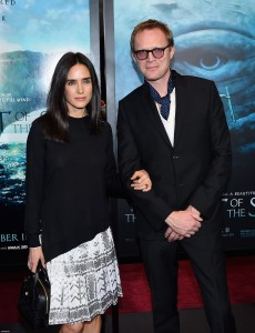 Jennifer Connolly and Paul Bettany attend the New York film premiere of In the Heart of the Sea on December 7, 2015.