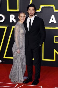 Joanne Tucker and Adam Driver attend the UK film premiere of Star Wars: The Force Awakens held at Odeon and Empire Cinemas, Leicester Square London. (December 14, 2015)