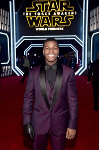 John Boyega attends the World Premiere of Star Wars: The Force Awakens held at TCL Chinese Theatre, Hollywood Blvd, Los Angeles, CA on December 14, 2015.