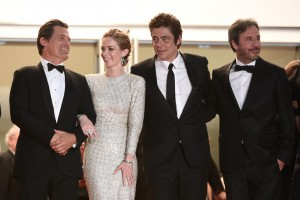 Josh Broling, Emily Blunt, Benicio del Toro and Denis Villeneuve attend the French film premiere of Sicario during 68th Annual Cannes Film Festival on May 19, 2015.