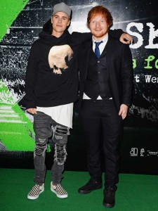Justin Bieber and Ed Sheeran attend the world premiere of Ed Sheeran's Jumpers for Goalposts concert movie which was filmed live at wembley stadium. The premiere took place at Odeon cinema, Leicester Square, London on October 22, 2015.