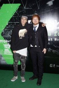 Pals Justin Bieber and Ed Sheeran attend the world premiere of Ed Sheeran's Jumpers for Goalposts concert movie which was filmed live at wembley stadium. The premiere took place at Odeon cinema, Leicester Square, London on October 22, 2015.