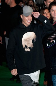 Justin Bieber attends the world premiere of Ed Sheeran's Jumpers for Goalposts concert movie which was filmed live at wembley stadium. The premiere took place at Odeon cinema, Leicester Square, London on October 22, 2015.