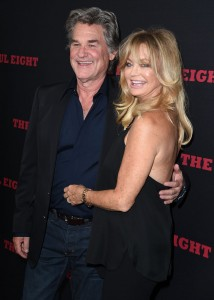 Kurt Russell and partner, Goldie Hawn attend the Los Angeles film premiere of The Hateful Eight held at ArcLight Cinemas, Sunset Blvd on December 7, 2015.