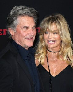Kurt Russell and Goldie Hawn attend the Los Angeles film premiere of The Hateful Eight held at ArcLight Cinemas, Sunset Blvd on December 7, 2015.