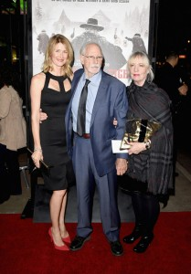 Laura Dern with her father, Bruce Dern and Andrea Beckett at the Los Angeles film premiere of The Hateful Eight held at ArcLight Cinemas, Sunset Blvd on December 7, 2015.
