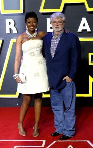 Mellody Hobson and George Lucas attend the UK film premiere of Star Wars: The Force Awakens held at Odeon and Empire Cinemas, Leicester Square London. (December 14, 2015)