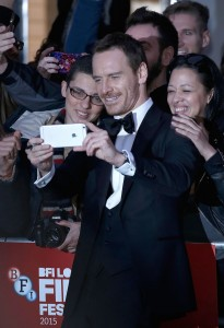 Michael Fassbender and fans at the U.K. film premiere of Steve Jobs held at Empire Cinema, Leicester Square, London on October 18, 2015.