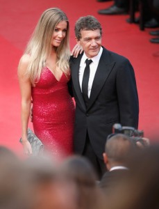 Nicole Kempel and Antonio Banderas attend the French film premiere of Sicario during 68th Annual Cannes Film Festival on May 19, 2015.