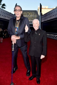 Peter Mayhew and Anthony Daniels attend the World Premiere of Star Wars: The Force Awakens held at TCL Chinese Theatre, Hollywood Blvd, Los Angeles, CA on December 14, 2015.